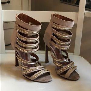 ✨✨ Schutz Beige Suede Gold Strappy Heels